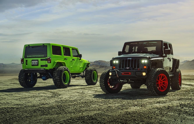 Photo wallpaper Green, Black, Forged, Custom, Wrangler, Jeep, Wheels, Track, ADV1, Function