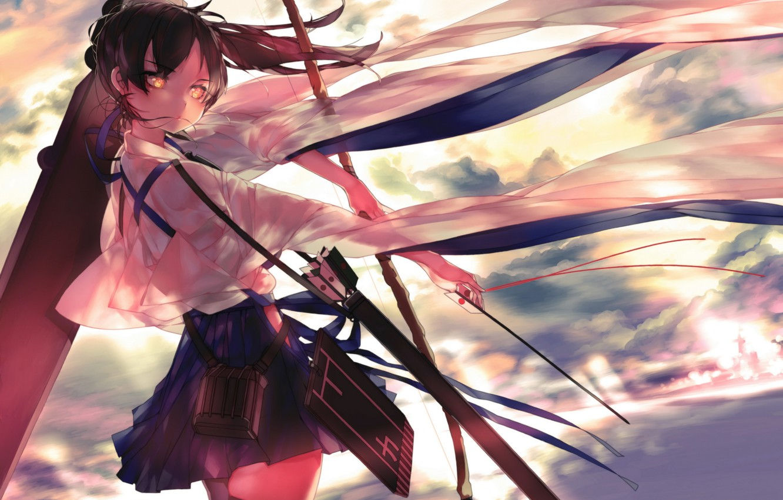 Photo wallpaper girl, weapons, anime, bow, art, arrows, kantai collection, kaga, leung ka che