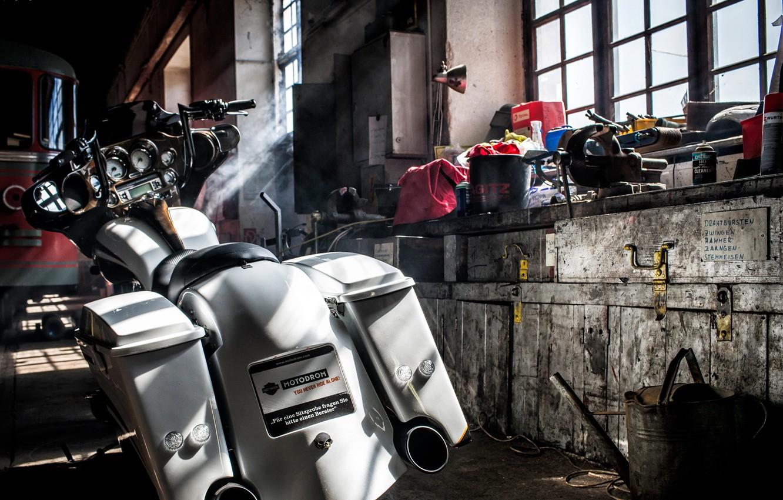 Photo wallpaper background, garage, motorcycle