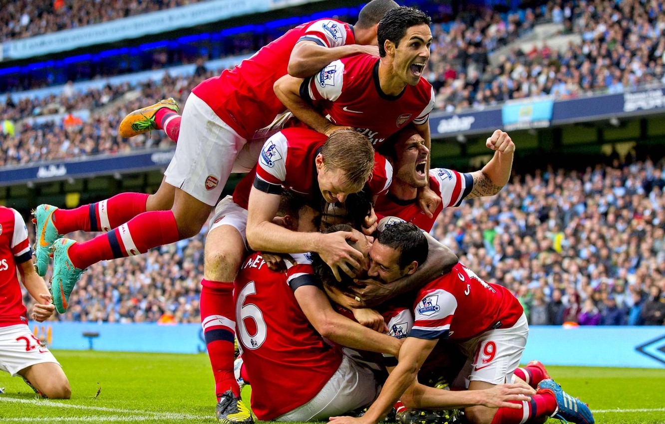 Wallpaper Background Arsenal Tribune Players Arsenal Football Club The Gunners The Gunners Football Club Celebrate Images For Desktop Section Sport Download