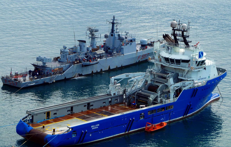 Photo wallpaper sea, ship, port, destroyer