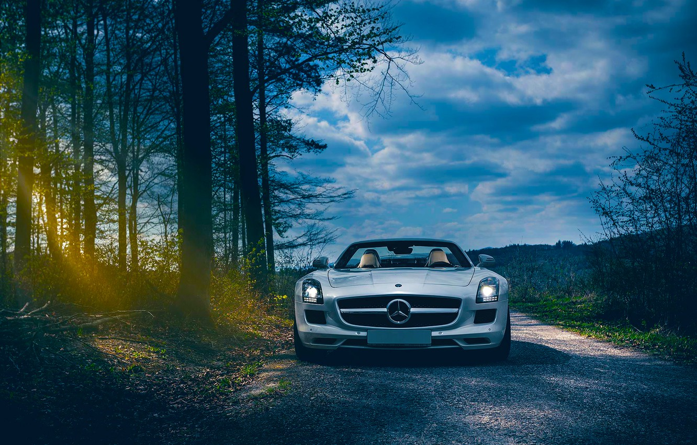 Photo wallpaper Roadster, Mercedes-Benz, Car, Front, AMG, Sun, SLS, Forest