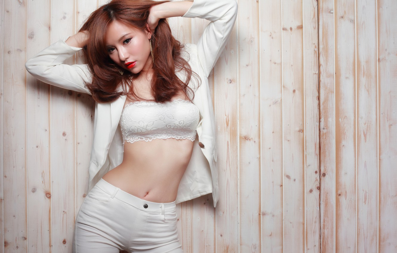 Photo wallpaper look, girl, face, pose, style, background, clothing, hair, figure, Asian