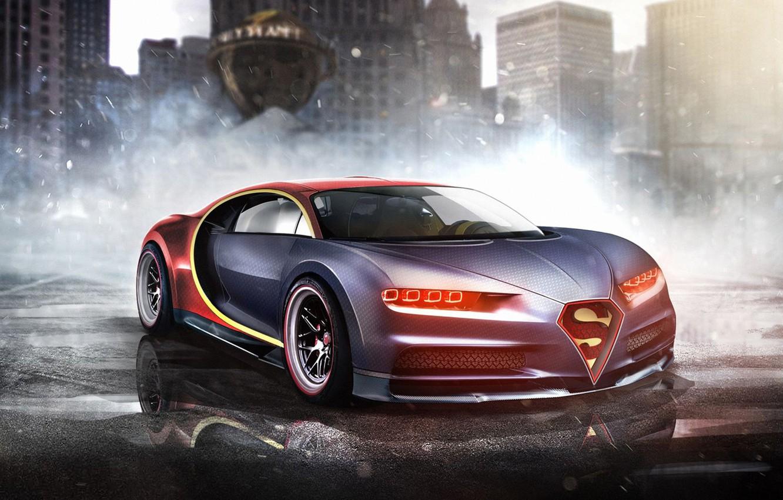 Photo wallpaper auto, Bugatti, Superman, superhero, Marvel, Superman, Marvel, Bugatti Chiron, DC Superheroes