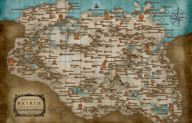 Photo wallpaper map, the elder scrolls, skyrim, Skyrim, tes