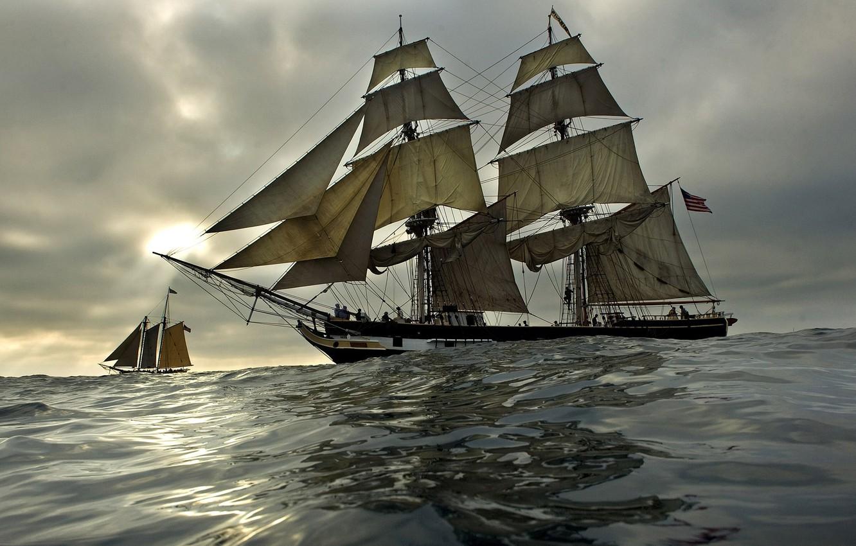 Photo wallpaper sea, wave, the sky, ships, the evening, sailboats