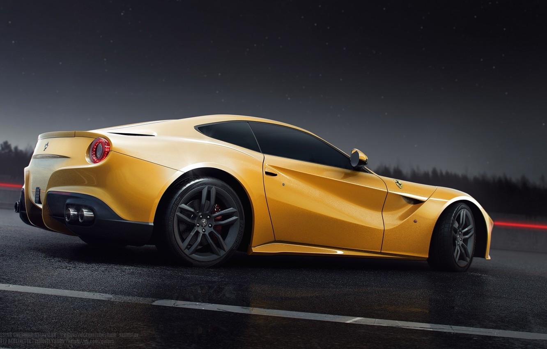 Photo wallpaper Ferrari, Sun, Rain, Yellow, Road, Berlinetta, F12, Rear, Nigth