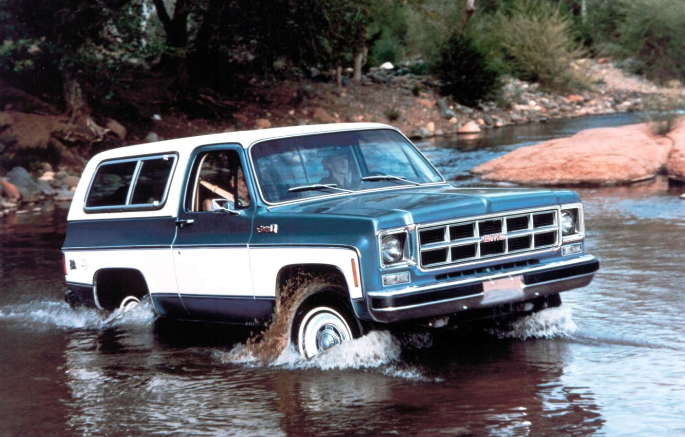 Photo wallpaper river, background, jeep, SUV, the front, GMC, 1978, Ford, Jimmy