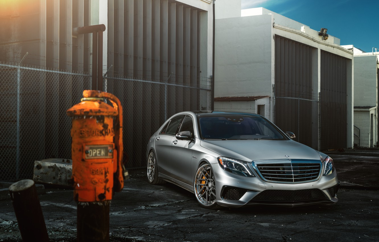 Photo wallpaper Mercedes-Benz, Car, Front, AMG, Silver, Wheels, S63, ADV.1