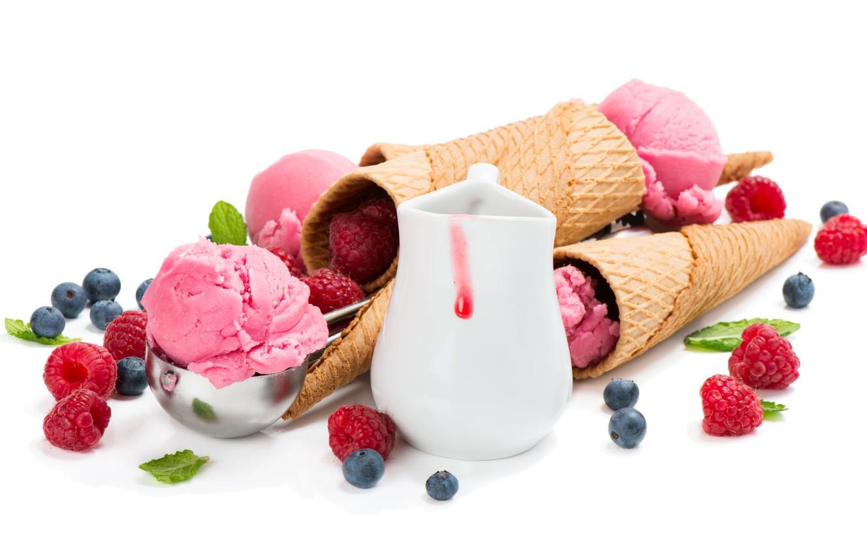Photo wallpaper berries, raspberry, blueberries, ice cream, sweet, wafer, blueberry, raspberry, Ice cream, Sweets