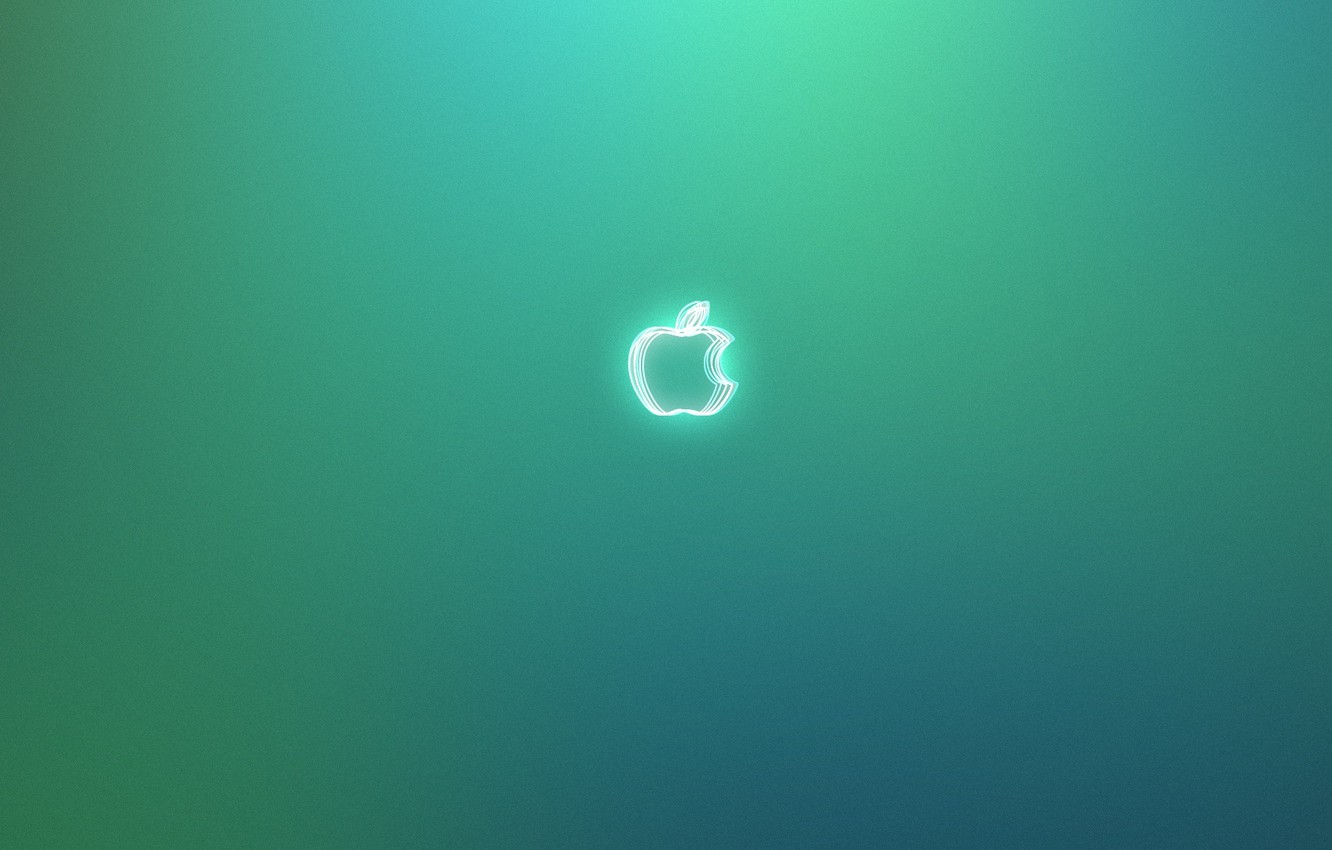 Photo wallpaper apple, Apple, green background