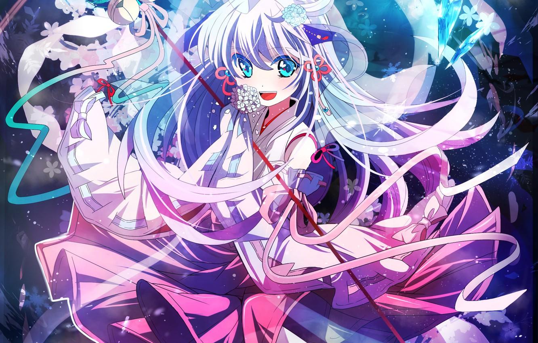 Photo wallpaper girl, flowers, anime, art, crystals, when the cicadas cry, hanyuu, higurashi no naku koro ni, …