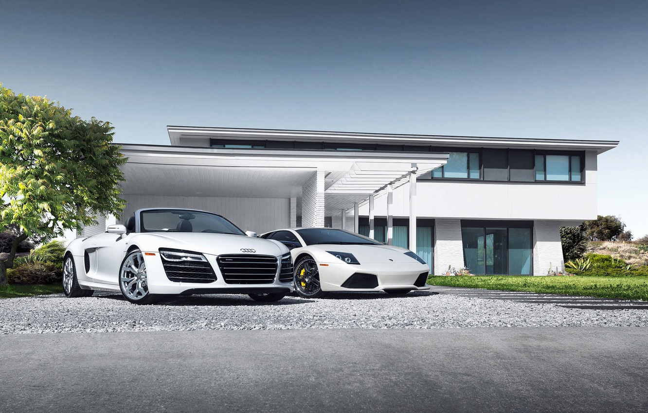 Photo wallpaper Audi, Lamborghini, House, Sky, Grass, Sun, Murcielago, White, Supercars, Spider, Trees, LP640-4
