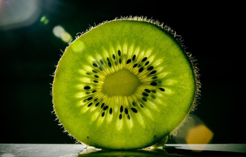 Photo wallpaper macro, green, kiwi, fruit