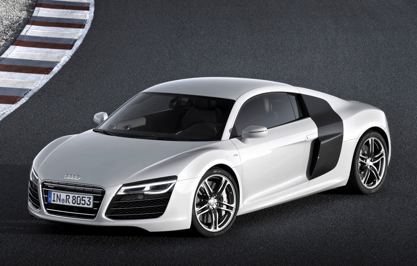Photo wallpaper background, Audi, Audi, silver, supercar, racing track, the front, V10, B10
