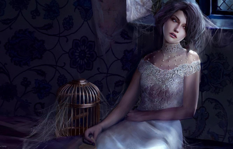 Photo wallpaper girl, night, fantasy, castle, web, cell, POLAND, Marta Dahlig