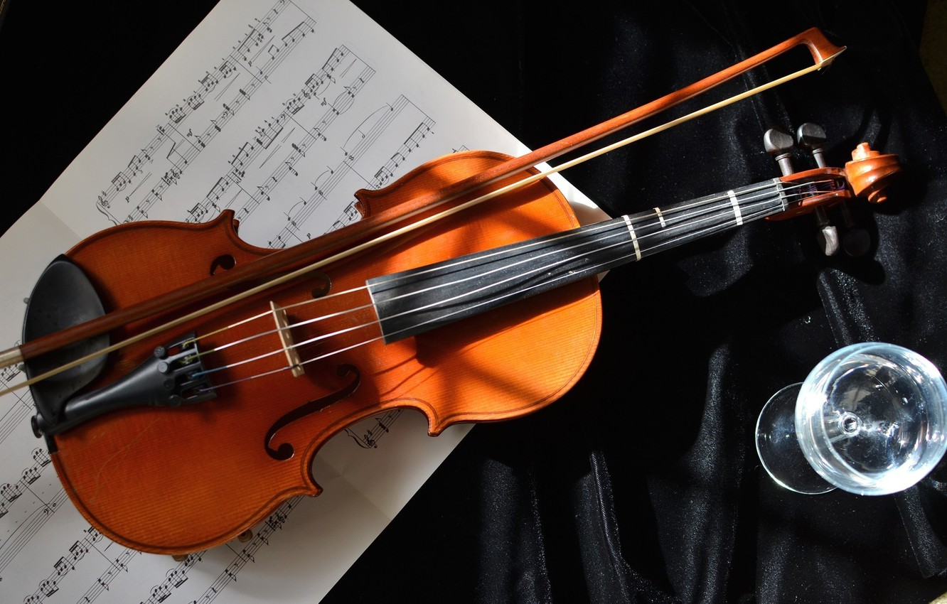 Photo wallpaper notes, music, violin, glass, strings, tool, bow