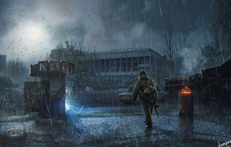 Photo wallpaper night, the city, rain, Stalker, Pripyat