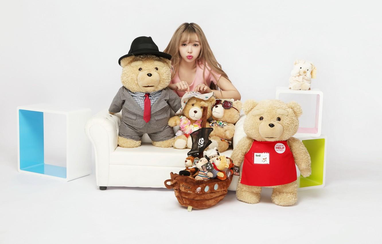 Photo wallpaper girl, model, toy, bear