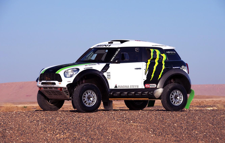Photo wallpaper white, Mini, Mini Cooper, Dakar, SUV, Rally, Mini, Side view, 2014, X-raid, on the spot