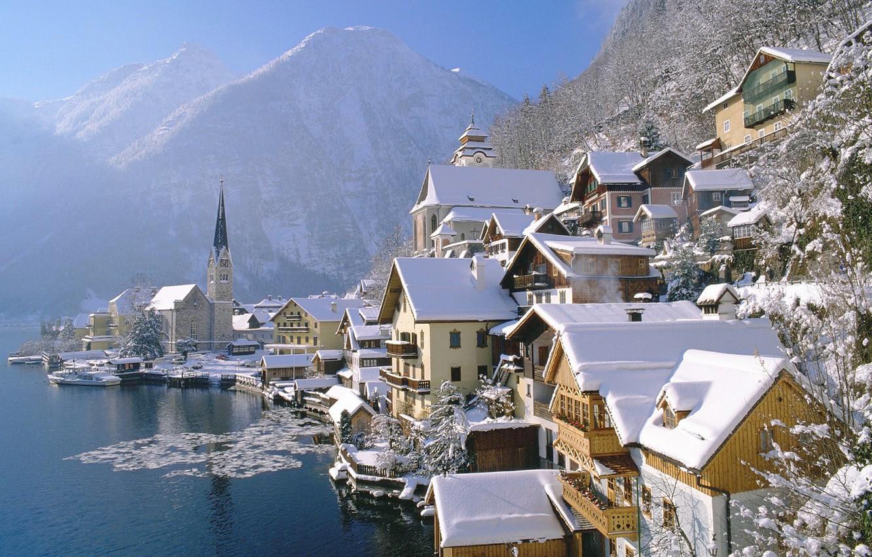 Photo wallpaper ice, winter, water, snow, mountains, branches, the city, home, Austria, austria, country, cholstat, deriva, hallstatt