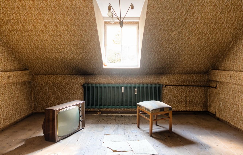 Photo wallpaper room, TV, chair