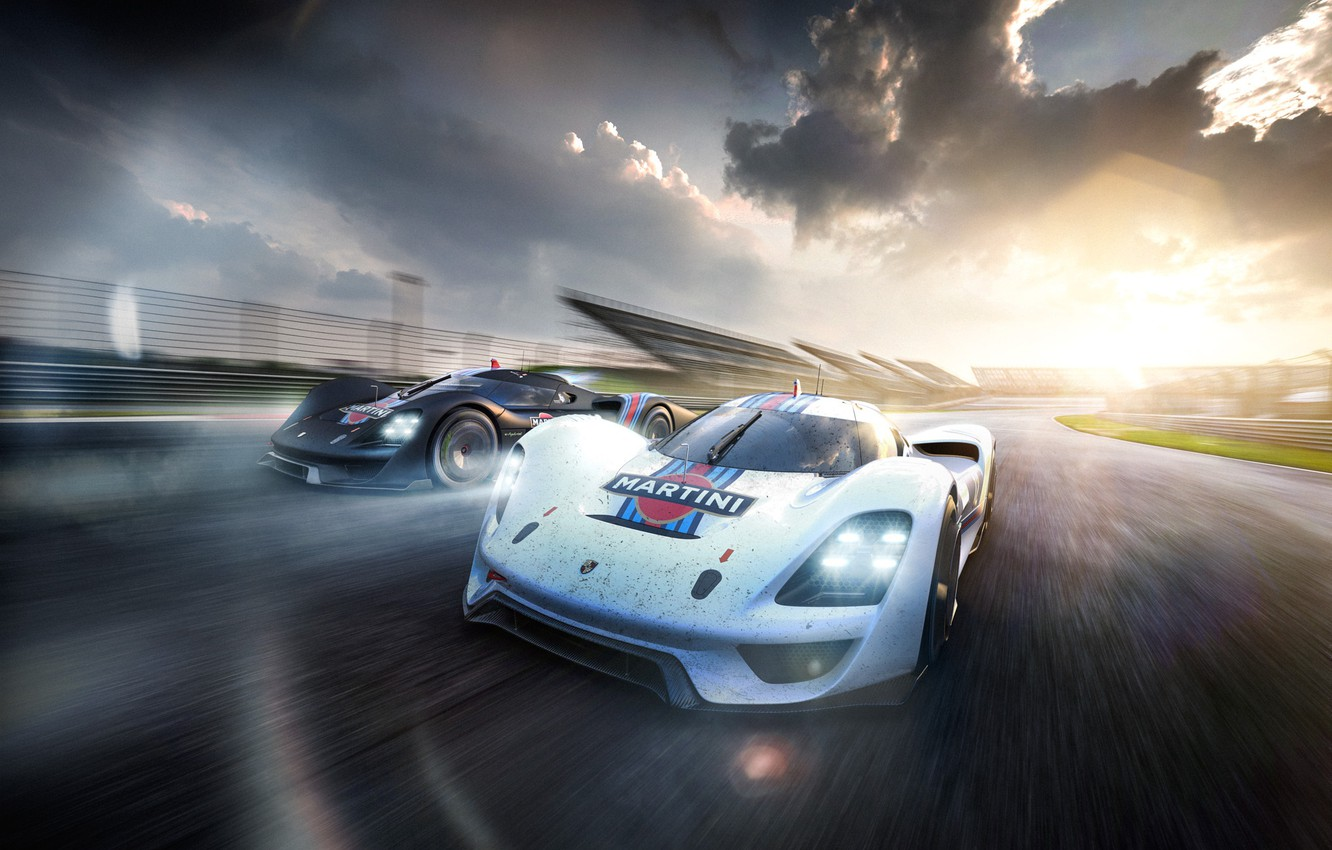 Photo wallpaper Porsche, Car, Vision, Front, Racing, Martini