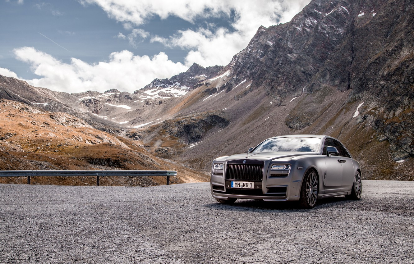 Photo wallpaper mountains, photo, tuning, silver, Rolls-Royce, car, luxury, Spofec, 2014 Ghost