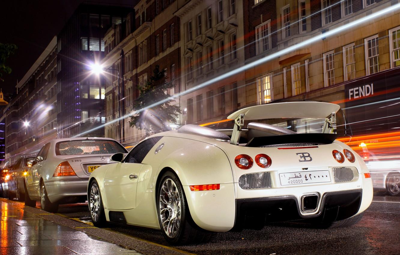 Photo wallpaper night, the city, lights, excerpt, veyron, bugatti