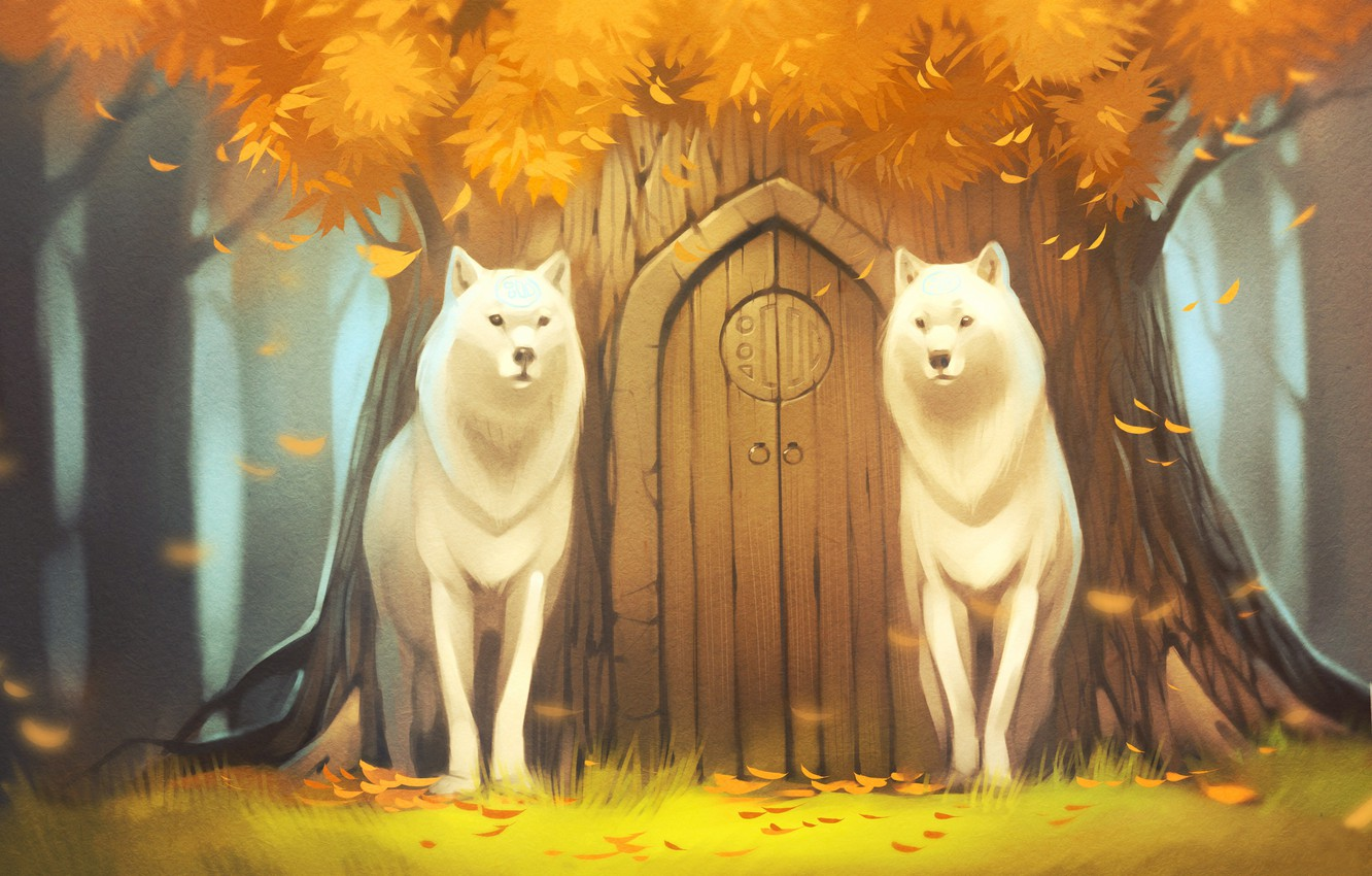 Photo wallpaper forest, tree, wolf, the door, art, tree, white wolves