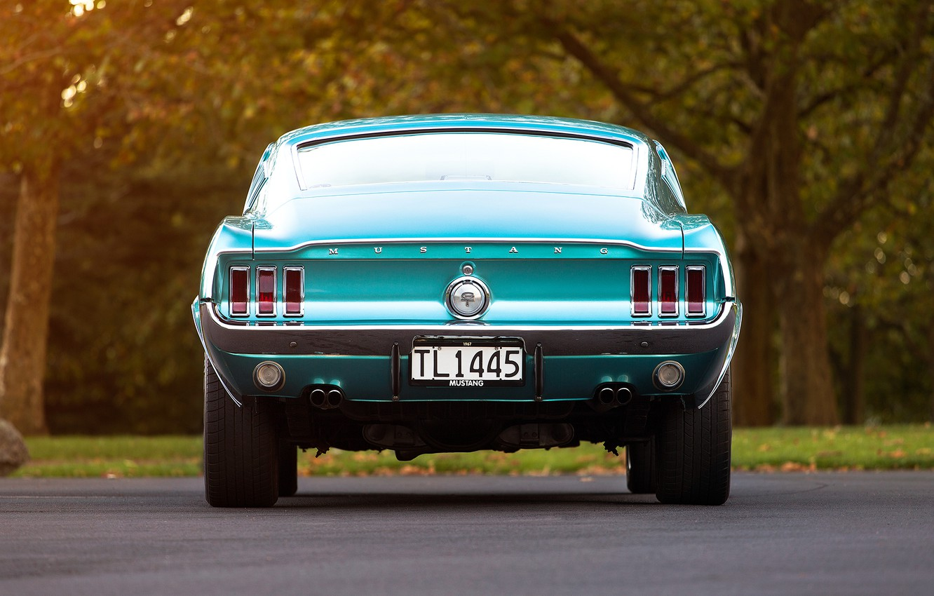 Photo wallpaper Mustang, Ford, room, the trunk, 1967, Fastback, ass