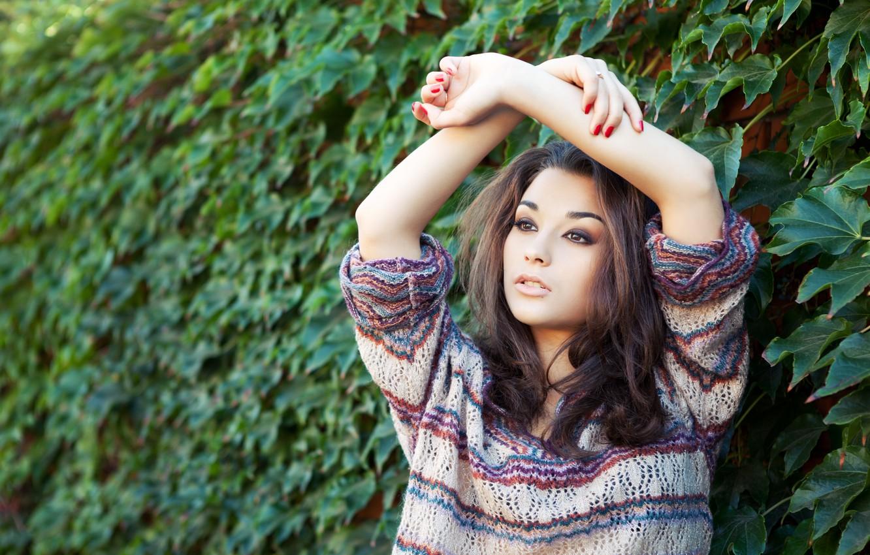Photo wallpaper girl, nature, face, model, hair, ring, hands, makeup, jacket, posing, manicure, binding, Christina Nicolaeva