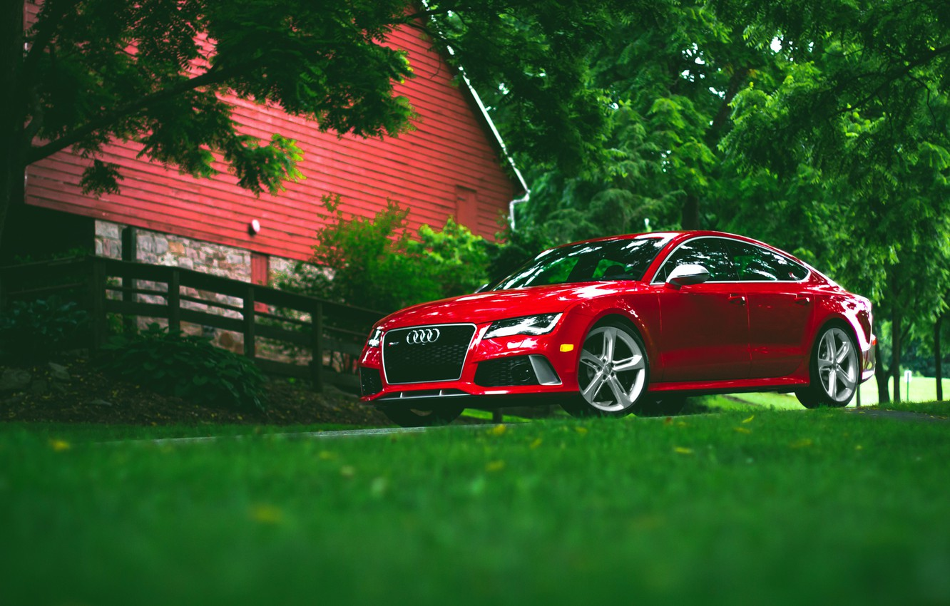 Photo wallpaper Audi, red, wheels, RS7, frontside