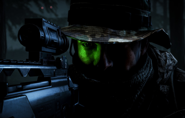 Photo wallpaper night, goal, soldiers, optics, Battlefield 4