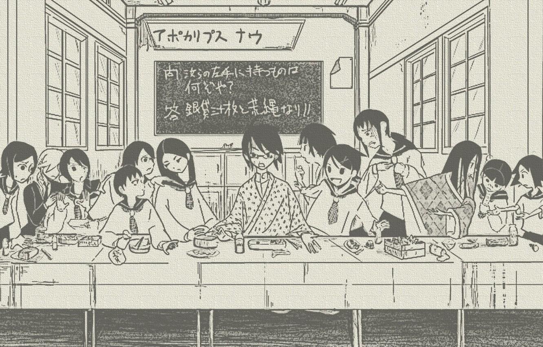 Photo wallpaper table, figure, Windows, sketch, characters, parody, class, Schoolgirls, the last supper, Sayonara Zetsubou Sensei, sailor, …