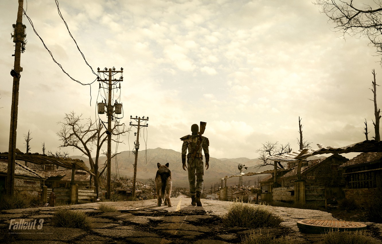 Photo wallpaper people, dog, the evening, fallout