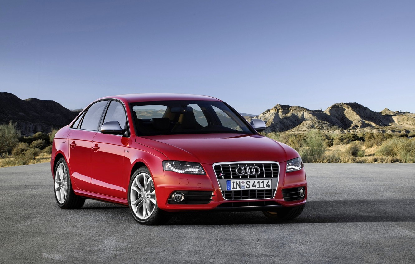 Photo wallpaper Audi, Red, Audi, Machine, Grille, The hood, Day, Sedan, Lights, the front