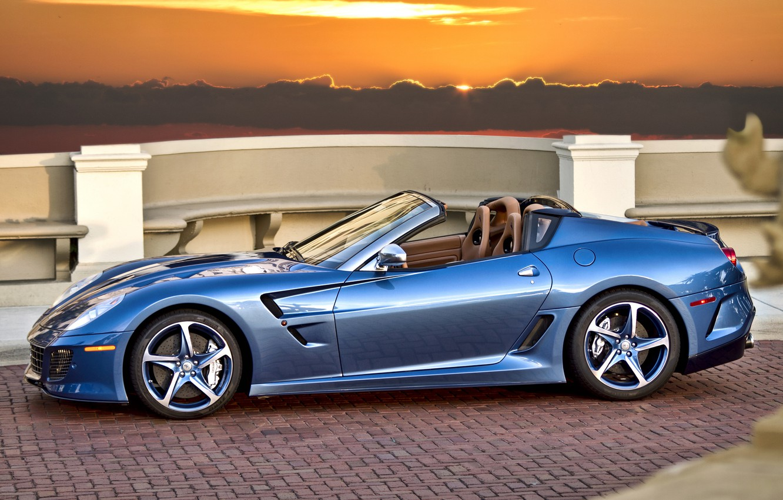 Photo wallpaper sunset, blue, Ferrari, convertible, Ferrari, blue, sundown, cabrio, pininfarina, Superamerica 45
