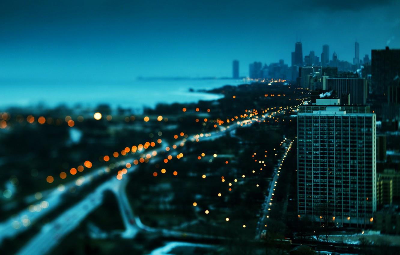 Photo wallpaper winter, sunset, lights, building, skyscrapers, Chicago, beautiful, America, USA