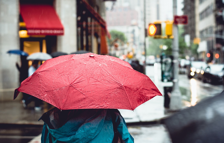 Photo wallpaper the city, rain, street, umbrella