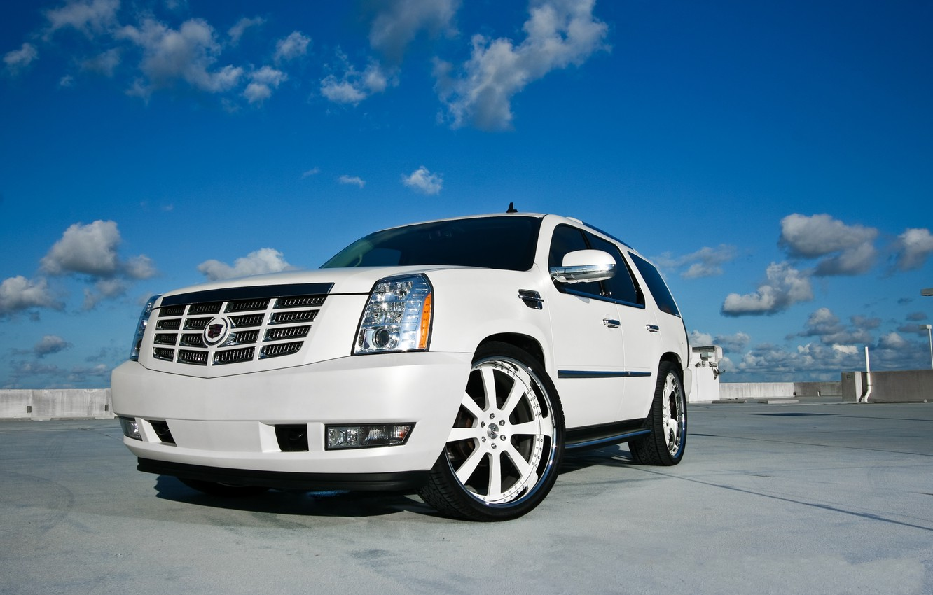 Photo wallpaper white, the sky, clouds, white, sky, the front, clouds, Cadillac, cadillac, escalade, the Escalade
