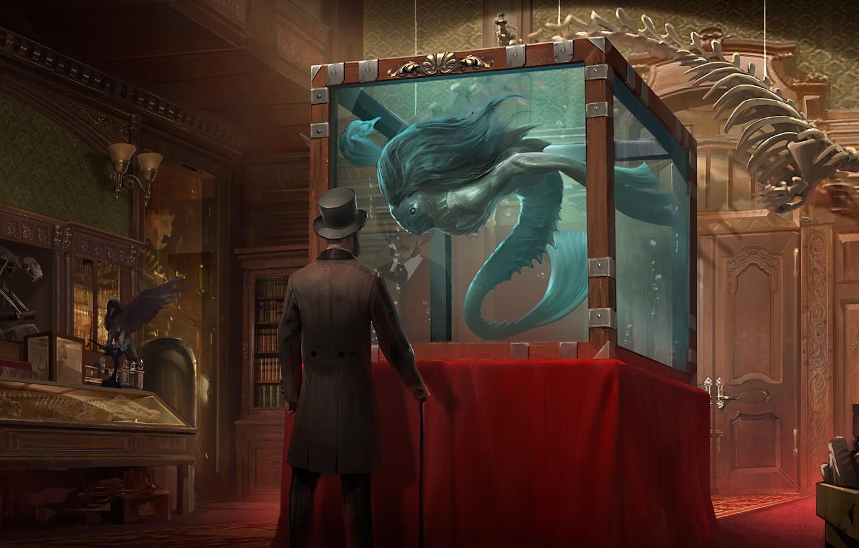 Photo wallpaper people, books, aquarium, hat, being, door, art, cane, male, Museum, skeletons, cylinder, exhibits