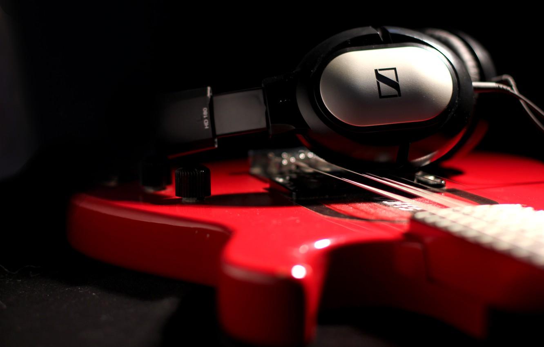 Photo wallpaper guitar, headphones, still life, hd 180, sennheiser