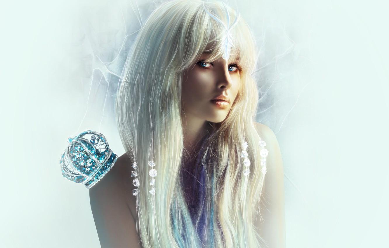 Photo wallpaper eyes, look, girl, stones, background, crown, blonde, shoulders