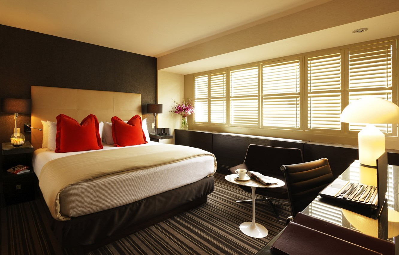 Photo wallpaper flowers, bed, Interior, the hotel