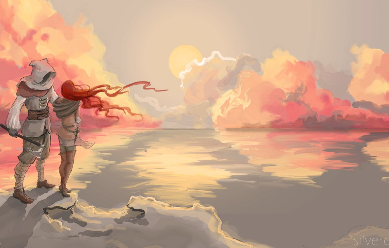 Photo wallpaper sea, the sky, girl, clouds, landscape, sunset, reflection, weapons, the ocean, shadow, male, guy, painting, …