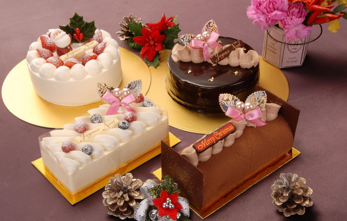 Photo wallpaper holiday, new year, food, sweets, bumps, dessert, happy new year, holiday, cakes, rolls, treat