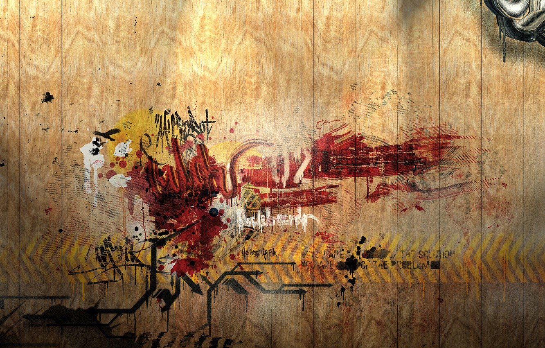Photo wallpaper wall, the inscription, graffiti, wooden