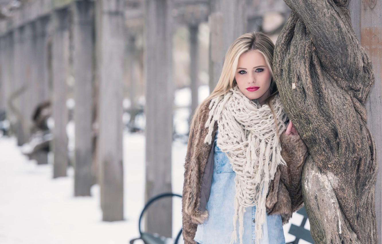 Photo wallpaper model, makeup, scarf, coat, Lara Sargent