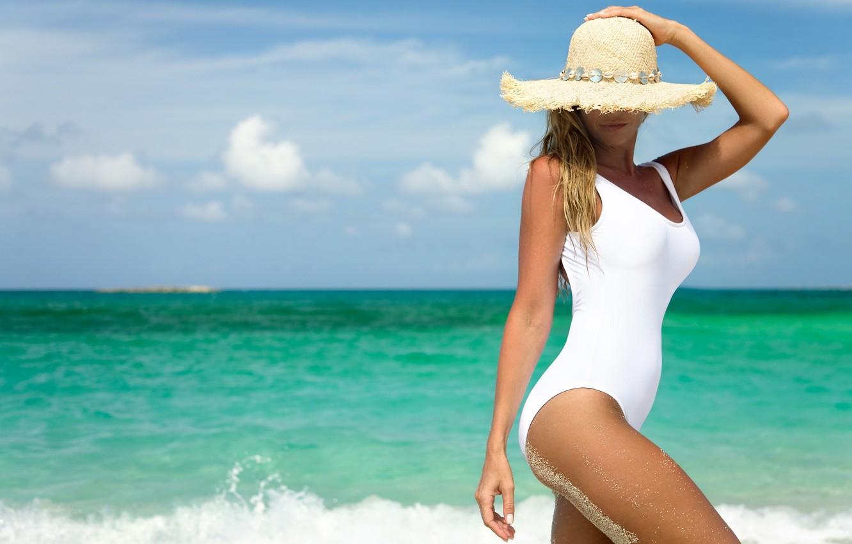 Photo wallpaper sea, swimsuit, smile, body, hat